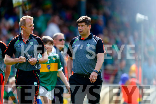 Liam Hassett and Kerry Manager Éamonn Fitzmaurice during the Munster GAA Football Senior Championship semi-final match between Kerry and Clare at Fitzgerald Stadium in Killarney on Sunday.