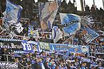 Die Fans der TSG 1899 Hoffenheimer beim Spiel in der Fussball Bundesliga, TSG 1899 Hoffenheim - VfL Wolfsburg.<br /> <br /> Foto &copy; PIX-Sportfotos *** Foto ist honorarpflichtig! *** Auf Anfrage in hoeherer Qualitaet/Aufloesung. Belegexemplar erbeten. Veroeffentlichung ausschliesslich fuer journalistisch-publizistische Zwecke. For editorial use only.