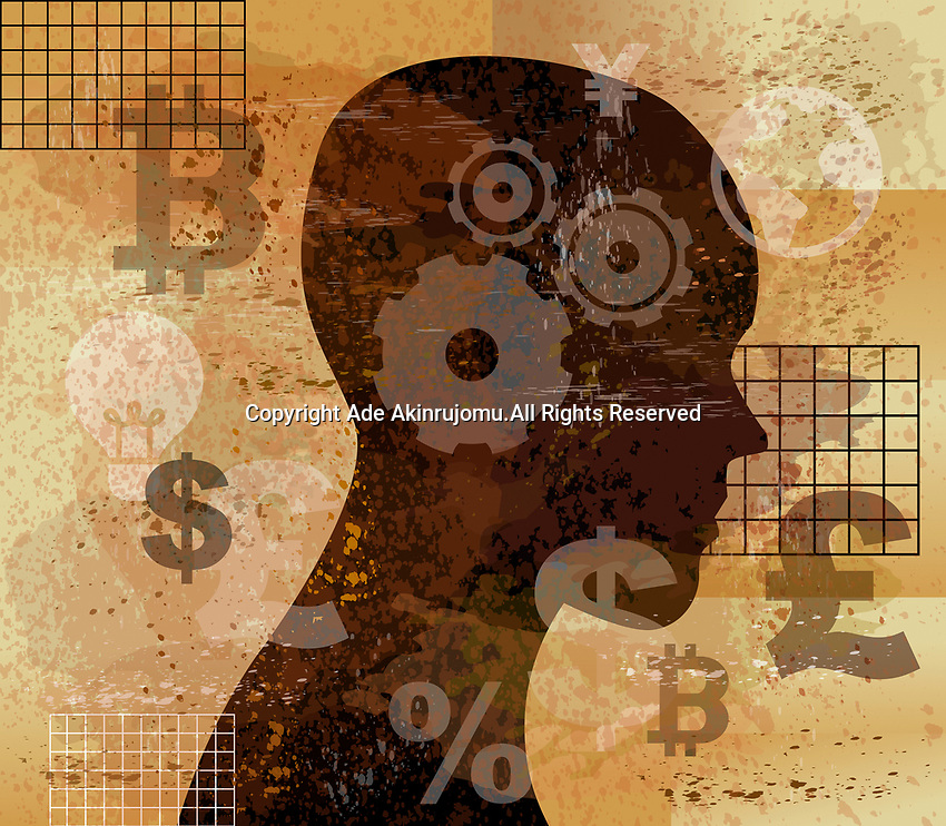 Profile of man thinking about global currency