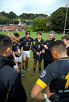 The Wellington College team huddles at halftime in the Wellington Premiership secondary schools rugby match between Wellington College and St Patrick's College Town at Wellington College in Wellington, New Zealand on Wednesday, 30 May 2018. Photo: Dave Lintott / lintottphoto.co.nz