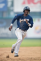 Nicolas Pierre (6) of the Helena Brewers hustles towards third base against the Great Falls Voyagers at Dehler Park on August 21, 2017 in Billings, Montana.  The Osprey defeated the Mustangs 10-4.  (Brian Westerholt/Four Seam Images)