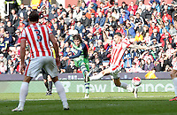 Swansea City's Alberto Paloschi scores the equalising goal during the Barclays Premier League match between Stoke City and Swansea City played at Britannia Stadium, Stoke on April 2nd 2016