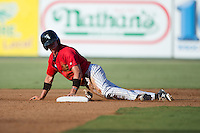 Alex Call (2) of the Kannapolis Intimidators slides head first into second base during the game against the Greensboro Grasshoppers at Intimidators Stadium on July 17, 2016 in Greensboro, North Carolina.  The Grasshoppers defeated the Intimidators 5-4 in game two of a double-header.  (Brian Westerholt/Four Seam Images)