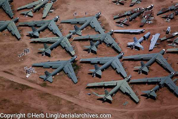 aerial view above military aircraft boneyard Tucson Arizona Davis Monthan air force base
