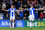 Luciano Neves (r) of Deportivo Leganes celebrates with teammate Gabriel Appelt Pires during their La Liga match between Deportivo Leganes and Real Madrid at the Estadio Municipal Butarque on 05 April 2017 in Madrid, Spain. Photo by Diego Gonzalez Souto / Power Sport Images