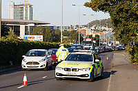 Pictured: Long queues  caused by the articulated M&S lorry which crashed on Fabian Way, Swansea, Wales, UK. Friday 20 September 2019<br /> Re: A Marks and Spencer articulated lorry has crashed through the central reservation of a dual carriageway and into a wall on the opposite side of the road on the A483 Fabian Road in the St Thomas area of Swansea, south Wales, UK.