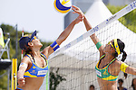 (L to R) Shinako Tanaka, Takemi Nishibori, MAY 6, 2012 - Beach Volleyball : JBV Tour 2012 Sports Club NAS Open  Women's final at Odaiba Beach, Tokyo, Japan. (Photo by Yusuke Nakanishi/AFLO SPORT) [1090]