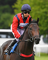 Power of Darkness ridden by Hayley Turner goes down to the start  of The Dee Wilks Against The Odds Confined Novice Stakes (Div 1) during Afternoon Racing at Salisbury Racecourse on 12th June 2018