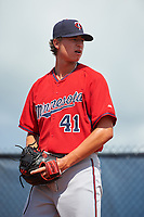GCL Twins relief pitcher Jordan Balazovic (41) warms up in the bullpen before the first game of a doubleheader against the GCL Rays on July 18, 2017 at Charlotte Sports Park in Port Charlotte, Florida.  GCL Twins defeated the GCL Rays 11-5 in a continuation of a game that was suspended on July 17th at CenturyLink Sports Complex in Fort Myers, Florida due to inclement weather.  (Mike Janes/Four Seam Images)