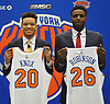 New York Knicks 2018 NBA Draft picks Kevin Knox (first round, ninth overall), left, and Mitchell Robinson (second round, 36th overall) pose together during their introductory news conference at Madison Square Garden Training Center in Greenburgh, NY on Friday, June 22, 2018.