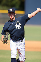 New York Yankees minor league pitcher Kramer Sneed (13) vs. the Pittsburgh Pirates in an Instructional League game at the New York Yankees Minor League Complex in Tampa, Florida;  October 8, 2010.  Photo By Mike Janes/Four Seam Images