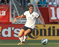USWNT forward Alex Morgan (13) dribbles. In an international friendly, the U.S. Women's National Team (USWNT) (white/blue) defeated Korea Republic (South Korea) (red/blue), 4-1, at Gillette Stadium on June 15, 2013.