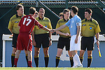 29 November 2009: Indiana captain Lee Hagedorn (17) and UNC captain Zach Loyd (5) shake hands before the coin toss. The University of North Carolina Tar Heels defeated the Indiana University Hoosiers 1-0 at Fetzer Field in Chapel Hill, North Carolina in an NCAA Division I Men's Soccer Tournament Third Round game.