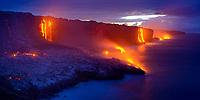 ocean entry, Kilauea volcano, Hawaii Volcanoes National Park, Big Island, Hawaii, USA