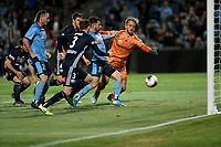 17th November 2019; Jubilee Oval, Sydney, New South Wales, Australia; A League Football, Sydney Football Club versus Melbourne Victory; Kosta Barbarouses of Sydney gets a foot to the ball to score and make it 2-1 as Lawrence Thomas of Melbourne Victory reaches for the ball in the 68th minute