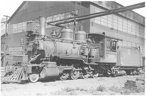 3/4 fireman's-side view of D&amp;RGW #319 near the Salida shops.<br /> D&amp;RGW  Salida, CO  Taken by Vollrath, Harold K. - 9/1935