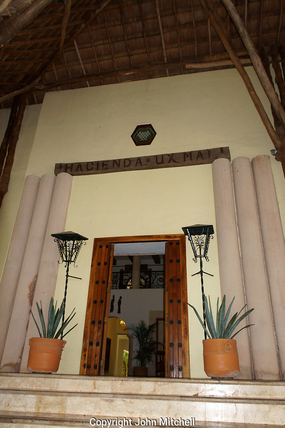 Main entrance to the Hotel Hacienda Uxmal near the Mayan ruins of Uxmal, Yucatan, Mexico.