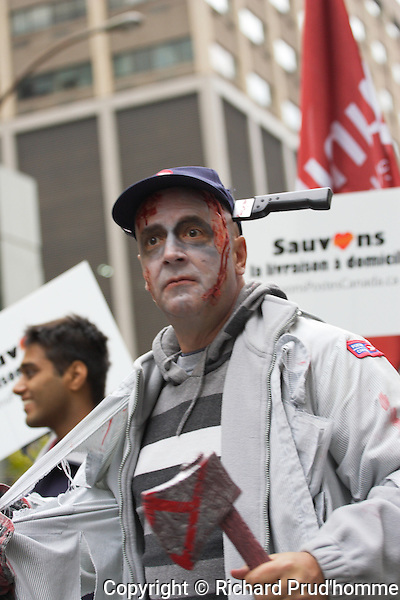 Canada Post workers participating in the Montreal Zombie parade