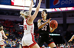 SIOUX FALLS, SD - MARCH 7: Mariah Murdie #33 of the Omaha Mavericks looks to get around Hannah Sjerven #34 of the South Dakota Coyotes at the 2020 Summit League Basketball Championship in Sioux Falls, SD. (Photo by Richard Carlson/Inertia)