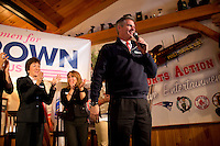 "Senator Scott Brown (R-MA) speaks at a ""Women For Brown"" meet and greet at The Olde Post Office Pub in North Grafton, Massachusetts, USA, on Thurs., Nov. 2, 2012. Senator Scott Brown is seeking re-election to the Senate.  His opponent is Elizabeth Warren, a democrat."