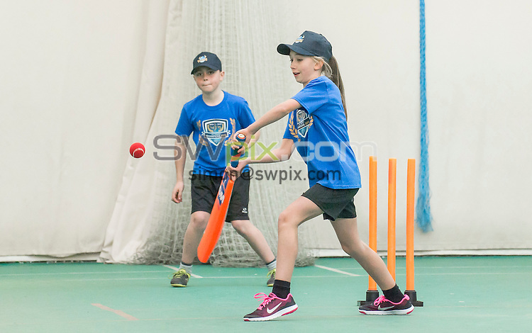 Picture by Allan McKenzie/SWpix.com - 07/03/16 - Cricket - 2016 Drax Cup Launch - Headingley Stadium, Leeds, England - Greenhill primary school players take part in an opening match of the Drax cup with Yorkshire CCC players.