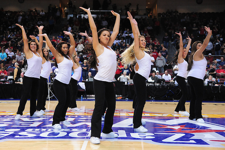 March 3, 2012; Las Vegas, NV, USA; Saint Mary's Gaels dancers perform against the Gonzaga Bulldogs during the WCC Basketball Championships at Orleans Arena.