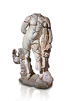 Roman statue of Hercules. Marble. Perge. 2nd century AD. Inv no . Antalya Archaeology Museum; Turkey. Against a white background.