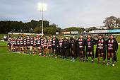 The Steelers team lines up before the game for a moments silence for Sir Brian Lochore. Mitre 10 Cup rugby game between Counties Manukau Steelers and Taranaki Bulls, played at Navigation Homes Stadium, Pukekohe on Saturday August 10th 2019. Taranaki won the game 34 - 29 after leading 29 - 19 at halftime.<br /> Photo by Richard Spranger.