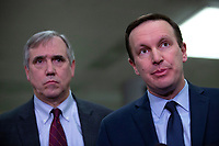 United States Senator Jeff Merkley (Democrat of Oregon) and United States Senator Chris Murphy (Democrat of Connecticut) speak to members of the media following a closed door briefing in the Senate SCIF with United States Secretary of State Mike Pompeo, United States Secretary of Defense Dr. Mark T. Esper, Gina Haspel, Director, Central Intelligence Agency (CIA), United States Army General Mark A. Milley, Chairman of the Joint Chiefs of Staff, and Acting Director of Intelligence Joseph Maguire at the United States Capitol in Washington D.C., U.S., on Wednesday, January 8, 2020.  97 senators were said to have attended the briefing, which discussed the U.S. drone strike on Iranian military leader Qasem Soleimani and the issue of Congressional authorization for such acts.<br /> <br /> Credit: Stefani Reynolds / CNP/AdMedia