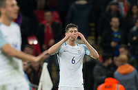 John Stones (Man City) of England reaction as his team concede a goal with the last kick of the game during the International Friendly match between England and Spain at Wembley Stadium, London, England on 15 November 2016. Photo by Andy Rowland.