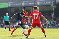 Dru Yearwood of Southend United shoots on goal during the Sky Bet League 1 match between Southend United and MK Dons at Roots Hall, Southend, England on 21 April 2018. Photo by Carlton Myrie.