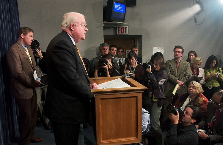12/08/04.INTELLIGENCE REFORM/IMMIGRATION--House Judiciary Chairman F. James Sensenbrenner Jr., R-Wis., speaking, and House Government Reform Chairman Thomas M. Davis III, R-Va., during a news conference on the immigration measure they will pursue early next year that would include many of the provisions that were dropped from the intelligence overhaul legislation, including one that would prevent illegal immigrants from getting driverÕs licenses..CONGRESSIONAL QUARTERLY PHOTO BY SCOTT J. FERRELL