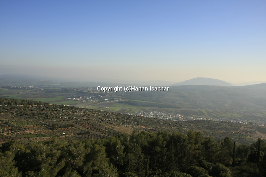 Israel, Lower Galilee. A view south from Mount Turan, Mount Tabor is in the background
