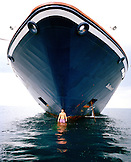 FRANCE, boy standing in the front of a the Sea Dream II, Nice