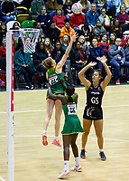 20.01.2019 Silver Ferns in action during the Silver Ferns v South Africa netball test match at the Copper Box Arena, London. Mandatory Photo Credit ©Michael Bradley Photography/Ben Queenborough.20.01.2019 Maia Wilson of the Silver Ferns  during the Silver Ferns v South Africa netball test match at the Copper Box Arena, London. Mandatory Photo Credit ©Michael Bradley Photography/Ben Queenborough.