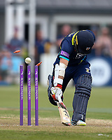 Durham's Tom Latham survives a run out attempt <br /> <br /> Photographer Andrew Kearns/CameraSport<br /> <br /> Royal London One Day Cup - Northamptonshire v Durham - Sunday 27th May 2018 - The County Ground, Northampton<br /> <br /> World Copyright &copy; 2018 CameraSport. All rights reserved. 43 Linden Ave. Countesthorpe. Leicester. England. LE8 5PG - Tel: +44 (0) 116 277 4147 - admin@camerasport.com - www.camerasport.com