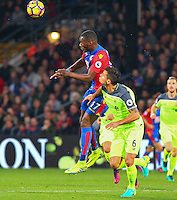 Christian Benteke of Crystal Palace wins a header from Dejan Lovren of Liverpool during the EPL - Premier League match between Crystal Palace and Liverpool at Selhurst Park, London, England on 29 October 2016. Photo by Steve McCarthy.