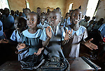Students sing in class at the John Paul II School in Wau, South Sudan.