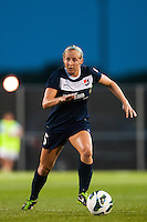 Sky Blue FC defender Kendall Johnson (5). Sky Blue FC defeated the Washington Spirit 1-0 during a National Women's Soccer League (NWSL) match at Yurcak Field in Piscataway, NJ, on July 6, 2013.