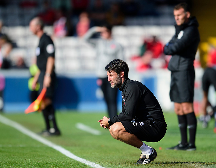 Lincoln City manager Danny Cowley watches from his technical area<br /> <br /> Photographer Andrew Vaughan/CameraSport<br /> <br /> The EFL Sky Bet League One - Lincoln City v Fleetwood Town - Saturday 31st August 2019 - Sincil Bank - Lincoln<br /> <br /> World Copyright © 2019 CameraSport. All rights reserved. 43 Linden Ave. Countesthorpe. Leicester. England. LE8 5PG - Tel: +44 (0) 116 277 4147 - admin@camerasport.com - www.camerasport.com