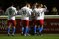 Will Wright of Dagenham and Redbridge scores the fifth goal for his team and celebrates with his team mates during Dagenham & Redbridge vs Aldershot Town, Vanarama National League Football at the Chigwell Construction Stadium on 16th November 2019