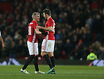 Bastian Schweinsteiger of Manchester United reacts with Michael Carrick of Manchester United during the English League Cup Quarter Final match at Old Trafford  Stadium, Manchester. Picture date: November 30th, 2016. Pic Simon Bellis/Sportimage