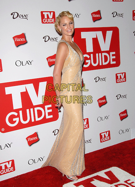 KATHERINE HEIGL.The 4th Annual TV Guide Post Emmy Party held at Social in Hollywood, California, USA..August 27th, 2006.Ref: DVS.full length cream dress silver eyes closed peach.www.capitalpictures.com.sales@capitalpictures.com.©Debbie VanStory/Capital Pictures