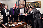 Palestinian President Mahmoud Abbas gives the Ambassador Daleel Mikhail Al-Qusous, the Medal of Merit and Excellence, in Amman on July 1, 2017. Photo by Thaer Ganaim