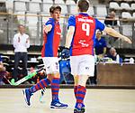 Almere - Zaalhockey  Laren-SCHC (heren)   .  Thomas Vis (SCHC) met Max Sweering (SCHC)  .TopsportCentrum Almere.    COPYRIGHT KOEN SUYK