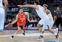 Real Madrid's Felipe Reyes and Jeffery Taylor and Valencia Basket's Rafa Martinez during Quarter Finals match of 2017 King's Cup at Fernando Buesa Arena in Vitoria, Spain. February 19, 2017. (ALTERPHOTOS/BorjaB.Hojas)