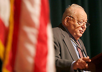 NWA Democrat-Gazette/DAVID GOTTSCHALK  George Abraham, a Holocaust survivor, speaks Friday, November 6, 2015, during the 24th Annual Holocaust Conference at the Jones Center in Springdale.