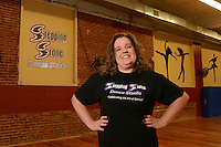 Dana Stone of Stepping Stones Dance Studio poses in her studio Thursday August 13, 2015 in Bristol, Pennsylvania. (Photo by William Thomas Cain)