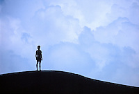 Silhouette of man looking at cloudy sky.
