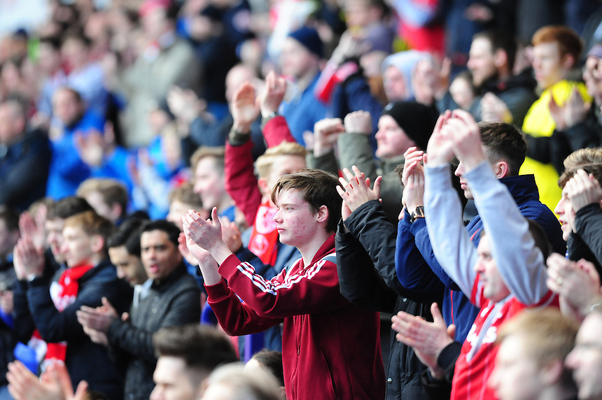 Middlesbrough fans before kick off<br /> <br /> Photographer Chris Vaughan/CameraSport<br /> <br /> Football - The Football League Sky Bet Championship - Bolton Wanderers v Middlesbrough - Saturday 16th April 2016 - Macron Stadium - Bolton<br /> <br /> &copy; CameraSport - 43 Linden Ave. Countesthorpe. Leicester. England. LE8 5PG - Tel: +44 (0) 116 277 4147 - admin@camerasport.com - www.camerasport.com